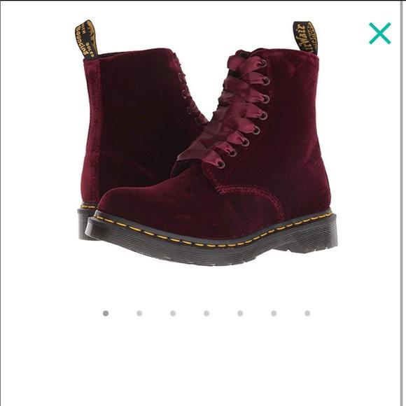 bef86ca10 Dr. Martens Shoes   Dr Martens 1460 Pascal Velvet Boots Red Velvet ...
